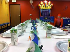 Easy party decor for party at Pump It Up.
