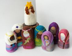 Beautiful needle-felted Nativity set