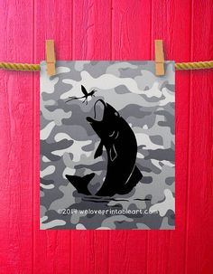 Nursery Fish Fisherman Fishing Decor Boy by WeLovePrintableArt, $5.00 Nursery, Fish Fisherman Fishing Decor Boy Room Decor, Teen Teenager Boy Art, Kids Decor, Sports Decorations, Wall Art Man Cave Camouflage