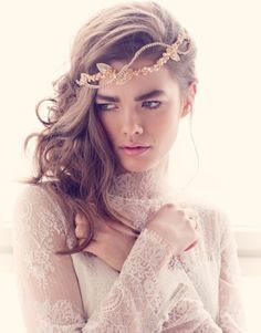 Bohemian Bridal Hair Vine/Flower Crown from Jannie Baltzer - Carly Rose (as seen in Vogue Brazil, photography by Sandra Aberg) Boho Headpiece, Headpiece Wedding, Bridal Headpieces, Wedding Veils, Fascinators, Boho Wedding, Bohemian Makeup, Wedding Accessories, Hair Accessories