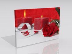 70 x 50 cm  Kırmızı mumlar ve Gül