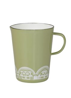 Charming measuring jug in soft British Lichen green with a motif of homes in white.  Designed with a pour spout handle and measurements in oz ml or cups. Holds 28 oz or 3 cups.