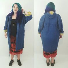 42dcb850fd1 80 s Long Jean Jacket With Hood Large - Baggy Colorful Plaid Lined Warm Coat  - Winter Street Coat Hipster Contrast Flannel Trim Coat