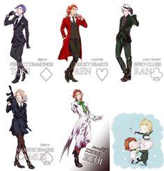 Joker's Trap + 1: Tokiya, Ren, Ranmaru, Camus & Reiji. (Reiji doesn't belong there~)--> He kinda does, since he does joke around a lot