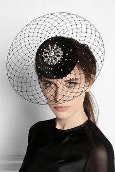 Hats // Philip Treacy Swarovski crystal-embellished velour veiled headpiece NET-A-PORTER.COM