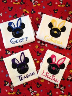 BOYS Disney MICKEY Mouse Easter Bunny Ears Boys Embroidered and Applique Shirt - Monogram Personalization on Etsy, $18.00