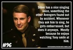 """Stony headcanon """"Steve has a nice singing voice, something the other Avengers found out by accident. Whenever they ask him to sing, he gets embarrassed, but does it anyways. Mostly because he enjoys watching Tony smile at him. Stony Avengers, Superfamily Avengers, The Avengers, Spideypool, Avengers Memes, Marvel Memes, Avengers Headcanon, Avengers Fanfic, Marvel Funny"""