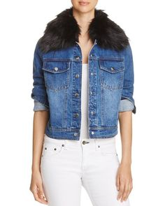 Bagatelle Faux-Fur Collar Denim Jacket