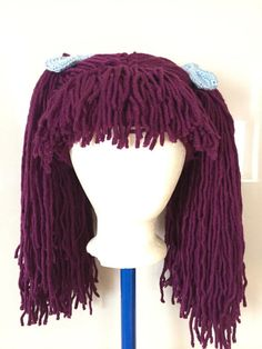 Handmade Crochet yarn Hair wig,women, baby, kids, purple hair, wig, yarn hair, yarn wig, hat wig Halloween wig costume