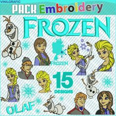 We offer designs for machine embroidery inspired by Frozen, are no patches, are designs sent by email or CD. (Just ask us)  FORMAT: .EMB and .PES  SIZES: 6x6 (150x150mm) and 4x4 (100x100mm).  In addition to the designs shown in the images, includes a GIFT CONVERTER SOFTWRE that lets you view the designs on your computer, you can change the size of the designs and eventually can convert them to other formats if you need it:  Formats to convert with the software:  ART, SEW, HUS, PES, XXX, EMB…