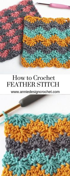 Free Crochet Stitch Tutorial for the Feather stitch. The stitch creates a substa… Free Crochet Stitch Tutorial for the Feather stitch. The stitch creates a substa…,Häkeln Free Crochet Stitch Tutorial for the Feather stitch. Crochet Stitches For Blankets, Crochet Stitches Free, Tunisian Crochet, Crochet Blanket Patterns, Crochet Hooks, Crochet Baby, Free Crochet, Stitch Patterns, Knitting Patterns