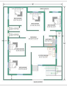 40x60 House Plans, Free House Plans, Simple House Plans, House Layout Plans, Town House Floor Plan, Bungalow Floor Plans, Model House Plan, Home Design Plans, Plan Design