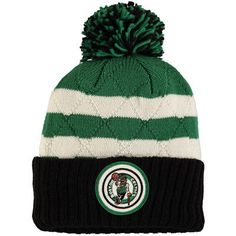 6fa63ae0b07 Men s Mitchell   Ness Black Green Boston Celtics Quilted Stripe High 5  Cuffed Knit Hat with Pom. Nba Hats ...