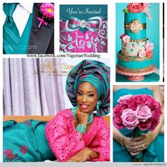 nigerian wedding fuchsia pink and teal wedding color scheme ~African fashion, Ankara, kitenge, African women dresses, African prints, African men's fashion, Nigerian style, Ghanaian fashion ~DKK