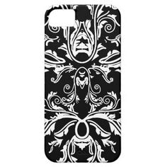 Elegant White and Black vintage damask  iPhone 5/5S Case by #PLdesign #WhiteDamask #BlackAndWhiteDask #DamaskGift