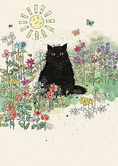 Black Garden Cat. Collage *NEW* Designed by Jane Crowther.