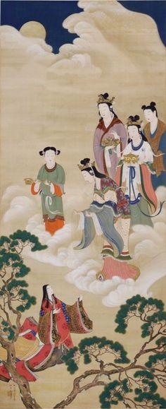 《香具耶姫昇天(かぐやひめしょうてん) 竹取物語》吉川霊華  1920 年(大正9 年)  eika KIKKAWA  -  1875-1929    Reika Kikkawa was the descendant of an old samurai family. He is known as a yamato-e painter, a Japanese painting style influenced by Zen Buddhism.  http://www.artelino.com/forum/artists.asp?act==2281=r=1=1==Reika%20Kikkawa%201875-1929