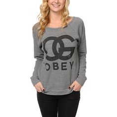 """The Original since 1989, get comfortable in the Zumiez Exclusive boyfriend fit OG crew neck sweatshirt from Obey Clothing. Pair with skinny jeans and slip-ons this girls crewneck sweatshirt features an wide crew neckline, raglan sleeves, soft fleece interior, and a large black """"OG OBEY"""" graphic on the front chest."""