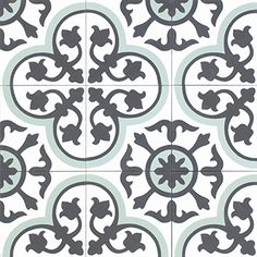 Moroccan cement tile - Sizes and how to order information can be found below  Size: - 20×20cm - 16mm  Product details - Pattern code: 10728 - Colours:B, GF, G1 - Product code: 21324  Made of: - Cement, marble powder sekä inorganic pigments  Manufactured - Morocco  Price and package details: - Minimum order 6 box/ 3.6m2 - Price per box - 15 tiles/ 0.6m2 per box
