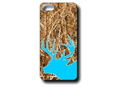 Our popular real camo iphone4 and iphone5 case with a deer head silhouette that you can customize with your favorite color!  Just write the color from our color chart that you would like as the color of the deer head in the notes at checkout (examples shown are Sky Blue, and Hot Pink)