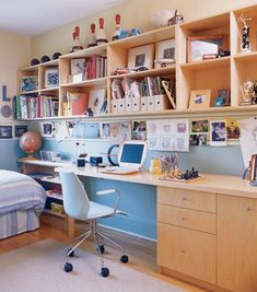Here's a great idea for incorporating extra storage space above your kids work area. For more storage for kids inspiration visit http://storageforkids.net