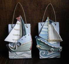 Ceramics by Sarah Vernon - Wall plaques, boat sailboat ocean Ceramics Projects, Clay Projects, Clay Crafts, Ceramic Wall Art, Ceramic Clay, Slab Pottery, Ceramic Pottery, Deco Originale, Clay Tiles
