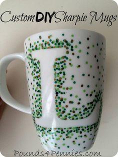 DIY Custom Sharpie Mugs great gift idea for Christmas. Use Sharpie paint pens to create an easy custom sharpie mug. Step by step fool proof directions. Dishwasher safe.