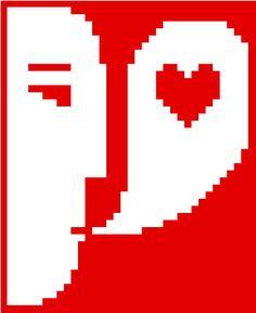 Let's talk about love. Striking minimalist Valentine's Day cross stitch pattern by crossstitchtheline