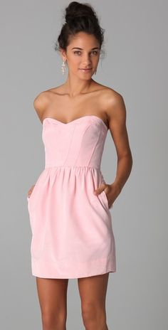 "Classic sweetheart strapless dress in ""ballerina"".  Has a sweetheart neckline and on-seam pockets!"
