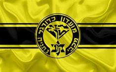 Download wallpapers Maccabi Netanya FC, 4k, Israeli football club, emblem, logo, Ligat haAl, football, Israel Football Championship, Netanya, Israel, silk