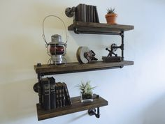 Industrial Black Pipe Three Tier Shelf the Pollard by Mobeedesigns