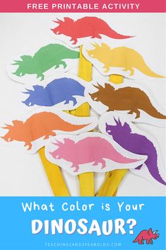 This dinosaur color matching printable is a fun way to engage toddlers and preschoolers during circle time. Make your own dinosaur stick puppets with popsicle sticks! #printable #dinosaur #colors #matching #circletime #teachers #earlychildhood #education #toddlers #preschool #2yearolds #3yearolds #teaching2and3yearolds Dinosaur Songs For Preschool, Dinosaur Activities, Preschool Colors, Dinosaur Crafts, Animal Activities, Preschool Themes, Toddler Preschool, Toddler Activities, Toddler Games
