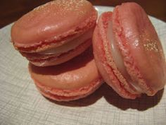 "This is my try of making Pierre Herme's Ispahan macarons, from his ""Macarons"" cookbook. Wow, are they rich!"