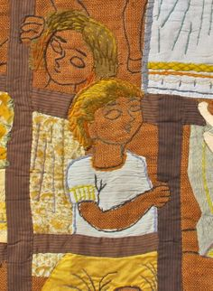 "Martha Mood stitchery, ""Girls on Trellis,"" early work, close up detail of a larger stitchery shown below close-up detail"