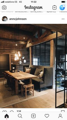 Great bench for dining in olive Log Home Interiors, Rustic Interiors, Cozy Cabin, Rustic Farmhouse Decor, Log Homes, House Rooms, Beautiful Homes, House Design, Interior Design