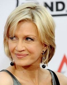 short blonde hairstyle for women over 50 with round face shape