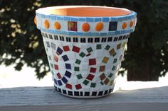 Flower Pot 6 Inch Mosaic by FrolicwithFrankie on Etsy, $25.00