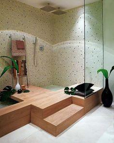 ducha con escalones de subida