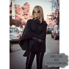 Maria Iliaki wears cape by Katerina Krommidaki