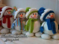 Игрушка Мастер-класс Новый год Вязание Вязание спицами МК снеговик Нитки Пряжа фото 14
