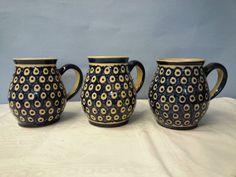 3 Krüge Keramik blau Pfauenauge Bunzlau Krug Handarbeit Saftkrug Dekoration