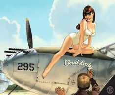 Collection of Aviation Pin Up and Nose Art copyrights belong to their respective owners. These are images I've found publicly accessible while browsing the Internet, unless otherwise stated. Pinup Art, Estilo Pin Up Retro, Retro Pin Up, Nose Art, Pin Up Girls, Lockheed P 38 Lightning, Pin Up Drawings, Pin Up Girl Vintage, Image Sites