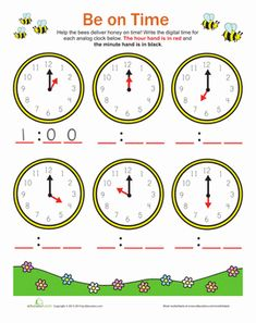 This is a worksheet that helps with telling time. It is helpful because it provides students with a visual instead of the teacher having the student come up and show the time on a large clock. Having visuals are a useful tool for someone who is just learning to tell time and for ELL's. Students will like this because the pictures will help them to figure out what time it is.