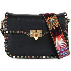 Valentino Women Guitar Rockstud Rolling Cross Body Bag (12.355 BRL) ❤ liked on Polyvore featuring bags, handbags, shoulder bags, black, studded handbags, valentino handbags, valentino purses, cross-body handbag and guitar purse
