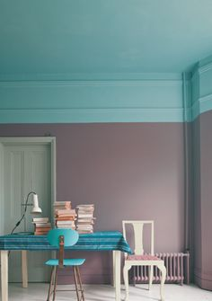 Farrow & Ball paint; laundry room paint colors; celing paint blue with gray