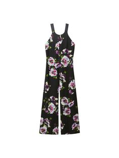 Jumpsuit with a floral print and a grosgrain bow detail in the back. Features a wide fit, a halter neckline, back zip fastening, two side pockets, wide grosgrain straps and lining. The garment length for size 38 is 145 cm.