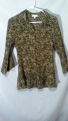 FASHION BUG WOMEN'S BROWN/BLACK ANIMAL PRINT 3/4 SLEEVE BUTTON DOWN BLOUSE SZ L | eBay