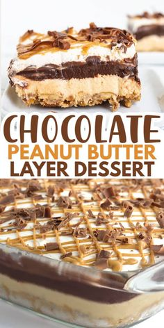 Chocolate Peanut Butter Layer Dessert - Cookie Dough and Oven Mitt - Chocolate Peanut Butter Layer Dessert – Love peanut butter desserts? This rich chocolate peanut b - Mini Desserts, Layered Desserts, Desserts For A Crowd, Delicious Desserts, Quick Dessert Recipes, Recipes For Desserts, Cheesecake Recipes, Easy No Bake Desserts, Health Desserts