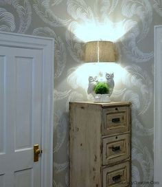 Vintage Lamp Makeover, great  stencilled wall and file cabinet
