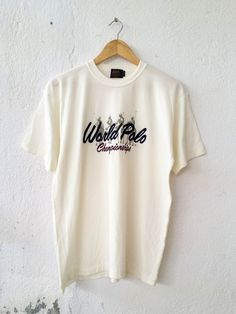 Vintage 90s World Polo Championships Great Britain embroidery Cream basic shirts hipster Swag activewear Streetwear|outdoor Size M VS28 by fiestorevintage on Etsy